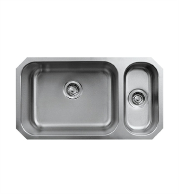 Whitehaus WHNDBU3118GDR Noah's Collection Brushed Stainless Steel Double Bowl Undermount Disposal Sink