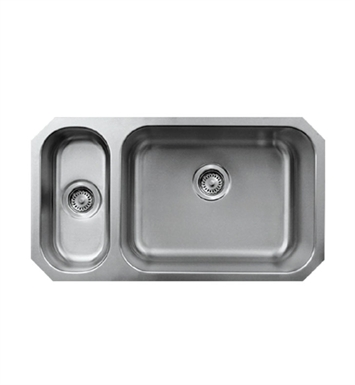 Whitehaus WHNDBU3118GDL Noah's Collection Brushed Stainless Steel Double Bowl Undermount Disposal Sink