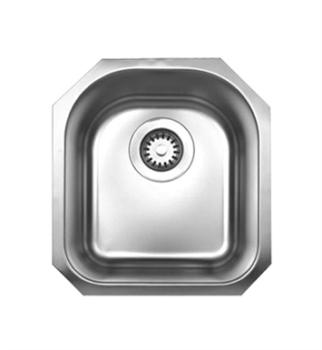 Whitehaus WHNU1618 Noah's Collection Brushed Stainless Steel Single Bowl (D-Bowl) Undermount sink