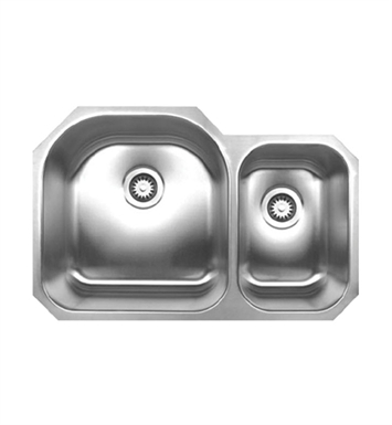 Whitehaus WHNDBU3120 Noah's Collection Brushed Stainless Steel Double Bowl Undermount Sink