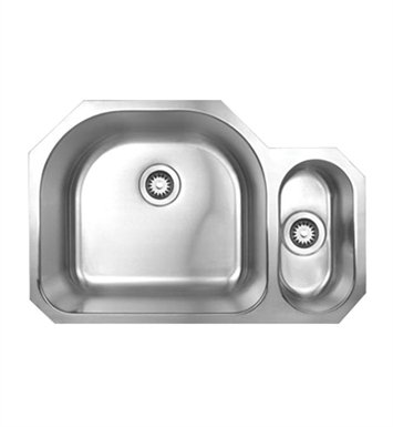 Whitehaus WHNDBU3121 Noah's Collection Brushed Stainless Steel Double Bowl Undermount Disposal Sink