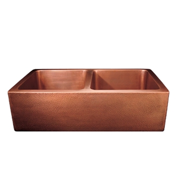 Whitehaus WH3621COFCD Copperhaus Rectangular Double Bowl Undermount Sink with Smooth Front Apron