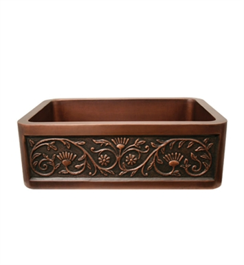 Whitehaus WH3020COFCSF Copperhaus Rectangular Undermount Sink with a Sun Flower Design Front Apron