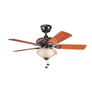 "Kichler 337014OBB Sutter Place Select 42"" Indoor Ceiling Fan with 5 Blades and Downrod"