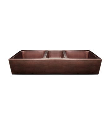 Whitehaus WH5319COFCT Copperhaus Large Rectangular Triple Bowl Undermount Sink with a Smooth Front Apron