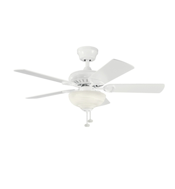 "Kichler 337014WH Sutter Place Select 42"" Indoor Ceiling Fan with 5 Blades and Downrod"
