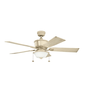 "Kichler 300162AW Cates 52"" Outdoor Ceiling Fan with 5 Blades and Downrod"