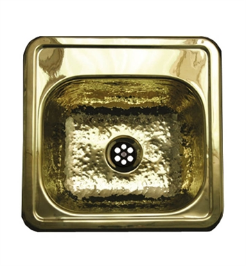 Whitehaus WH692BBB Square Drop-in Entertainment/Prep Sink with a Hammered Texture Bowl and Mirrored Ledge