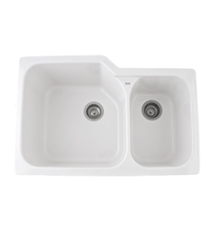 Rohl 6337-00 Allia Undermount Fireclay Kitchen Sink in White