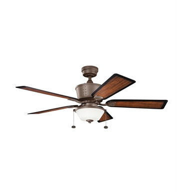 "Kichler 300162TZP Cates 52"" Outdoor Ceiling Fan with 5 Blades and Downrod"