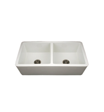 Whitehaus WH3719-BI Duet Reversible Double Bowl Fireclay Sink with Smooth Front Apron With Finish: Biscuit