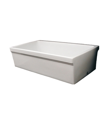 "Whitehaus WHQ530-BI Quatro Alcove Reversible Fireclay Sink with Decorative 2 1/2"" Lip on One Side and 2"" Lip on Other With Finish: Biscuit"