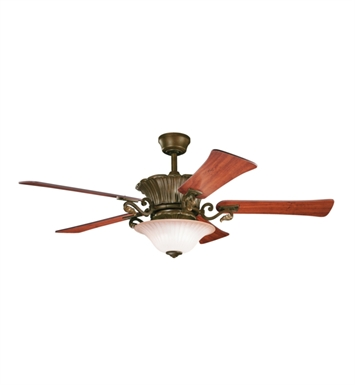 "Kichler 300207CZ Rochelle 56"" Indoor Ceiling Fan with 5 Blades, Cool-Touch Remote and Downrod"