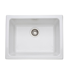 Rohl 6347-00 Allia Undermount / Laundry Single Bowl Fireclay Kitchen Sink in White Finish