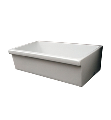 "Whitehaus WHQ536-W Large Quatro Alcove Reversible Fireclay Sink Decorative 2 1/2"" Lip on One Side and 2"" Lip on Other With Finish: White"