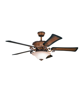 "Kichler 300207MDW Rochelle 56"" Indoor Ceiling Fan with 5 Blades, Cool-Touch Remote and Downrod"