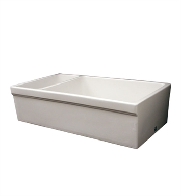 "Whitehaus WHQDB542-BI Large Quatro Alcove Reversible Fireclay Sink Decorative 2 1/2"" Lip on One Side and 2"" Lip on Other With Finish: Biscuit"