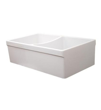 "Whitehaus WHQDB532 Quatro Alcove Reversible Double Bowl Fireclay Sink with 2"" Lip on One Side and 2 1/2"" Lip on Other"