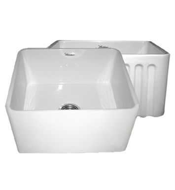 Whitehaus WHFLPLN2018 Reversible Series Fireclay Sink with Smooth Front Apron One Side and Fluted Front Apron on Opposite Side