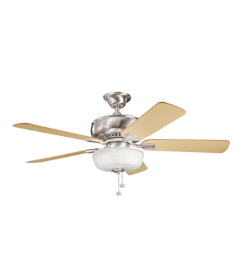 "Kichler 339212BSS Saxon Select 52"" Indoor Ceiling Fan with 5 Blades, Light Kit and Downrod"