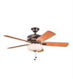 "Kichler 339212OBB Saxon Select 52"" Indoor Ceiling Fan with 5 Blades, Light Kit and Downrod"