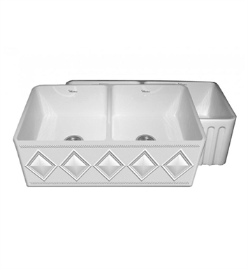 Whitehaus WHFLDI3318 Diamondhaus Reversible Series Double Bowl Fireclay Sink with a Diamon Design Front Apron on One Side, and a Fluted Front Apron on the Opposite Side