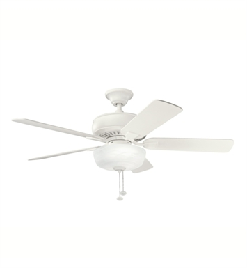 "Kichler 339212SNW Saxon Select 52"" Indoor Ceiling Fan with 5 Blades, Light Kit and Downrod"
