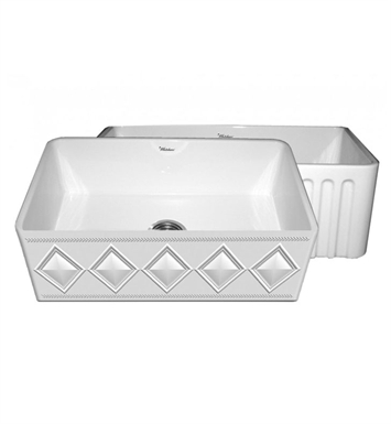 Whitehaus WHFLDI3018 Diamondhaus Reversible Series Fireclay Sink with a Diamon Design Front Apron on One Side, and a Fluted Front Apron on the Opposite Side
