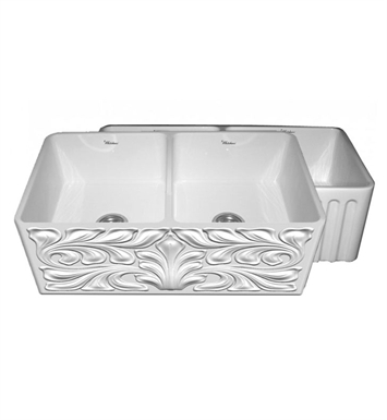 Whitehaus WHFLGO3318 Gothichaus Reversible Series Fireclay Double Bowl Sink with a Gothic Swirl Design Front Apron on One Side, and a Fluted Front Apron on the Opposite Side.