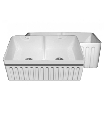 "Whitehaus WHFLQ3318 Quatro Alcove Double Bowl Reversible Fireclay Sink with a Fluted Front Apron and a Decorative 2 1/2"" Lip on One Side and a Fluted Front Apron on the Opposite Side"