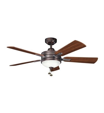 "Kichler 300148OBB Logan 52"" Indoor Ceiling Fan with 5 Blades, Light Kit and Downrod"