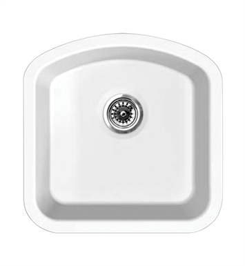 Whitehaus WHE1717D Elementhaus Single Bowl (D-BOWL) Undermount Sink with 3 ½ inch Rear Center Drain.