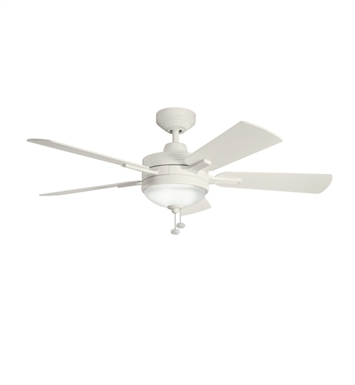 "Kichler 300148SNW Logan 52"" Indoor Ceiling Fan with 5 Blades, Light Kit and Downrod"