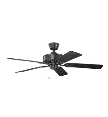 "Kichler 339515SBK Renew Patio 52"" Outdoor Ceiling Fan with 5 Blades and Downrod"