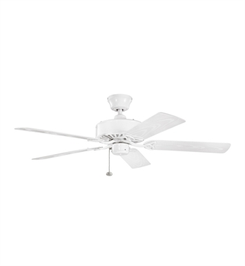 "Kichler 339515WH Renew Patio 52"" Outdoor Ceiling Fan with 5 Blades and Downrod"