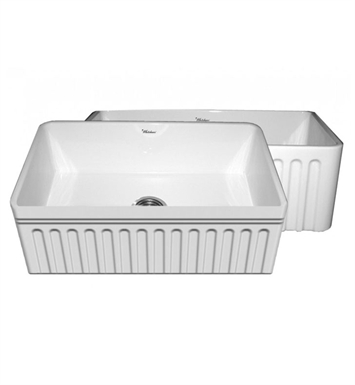 "Whitehaus WHFLQ3018 Quatro Alcove Reversible Fireclay Sink with a Fluted Front Apron and a Decorative 2 1/2"" Lip on One Side and a Fluted Front Apron on the Opposite Side"