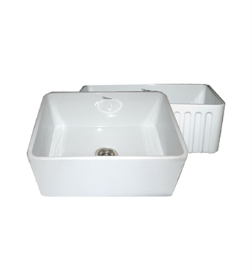 Whitehaus WHFLPLN2418 Reversible Series Fireclay Sink with Smooth Front Apron One Side and Fluted Front Apron on Opposite Side