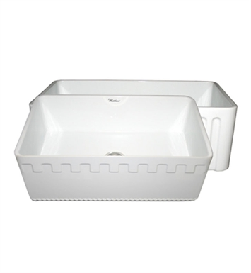 Whitehaus WHFLATN3018-W Reversible Series Fireclay Sink with an Athinahaus Front Apron One Side and Fluted Front Apron on Opposite Side With Finish: White