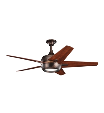 "Kichler 300137OBB Makoda 52"" Indoor Ceiling Fan with 5 Blades, Cool-Touch Remote and Downrod"