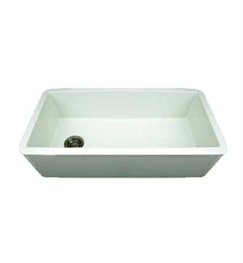 Whitehaus WH3618-W Duet Reversible Fireclay Sink with Smooth Front Apron With Finish: White