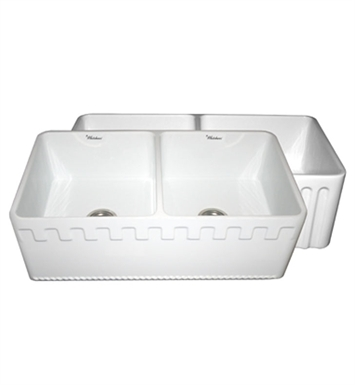Whitehaus WHFLATN3318-BI Reversible Series Double Bowl Fireclay Sink with Athinahaus Front Apron One Side and Fluted Front Apron on Other With Finish: Biscuit