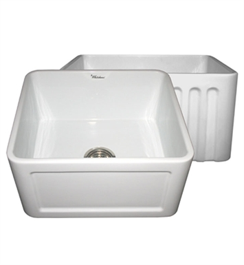 Whitehaus WHFLCON2018 Reversible Series Fireclay Sink with Concave Front Apron One Side and Fluted Front Apron on Other
