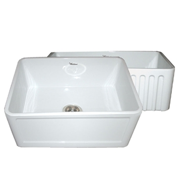 Whitehaus WHFLCON2418-W Reversible Series Fireclay Sink with Concave Front Apron One Side and Fluted Front Apron on Other With Finish: White