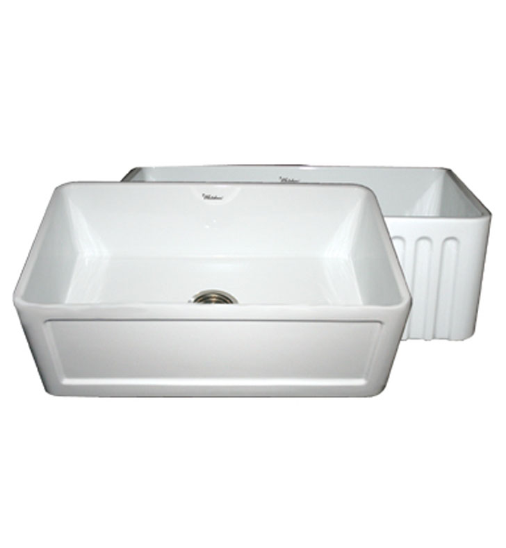 Whitehaus Collection Farmhaus 30 In X 18 In White Single: Whitehaus WHFLCON3018 Reversible Series Fireclay Sink With