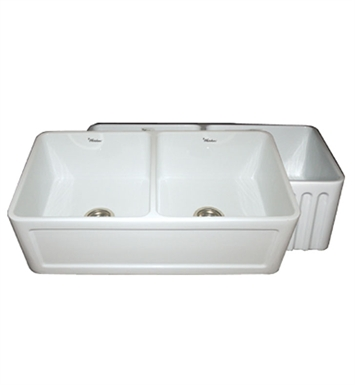 Whitehaus WHFLCON3318-W Reversible Series Double Bowl Fireclay Sink with Concave Front Apron One Side and Fluted Front Apron on Other With Finish: White