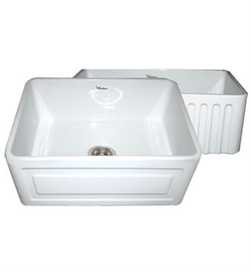 Whitehaus WHFLRPL2418-BLUE Reversible Series Fireclay Sink with Raised Panel Front Apron One Side and Fluted Front Apron on Other With Finish: Sapphire Blue