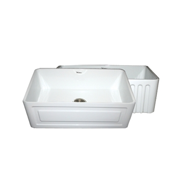 Whitehaus WHFLRPL3018-BLUE Reversible Series Fireclay Sink with Raised Panel Front Apron One Side and Fluted Front Apron on Other With Finish: Sapphire Blue