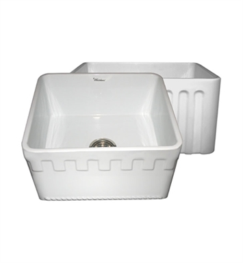 Whitehaus WHFLATN2018-BI Reversible Series Fireclay Sink with an Athinahaus Front Apron One Side and Fluted Front Apron on Opposite Side With Finish: Biscuit