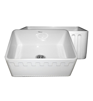 Whitehaus WHFLATN2418-W Reversible Series Fireclay Sink with an Athinahaus Front Apron One Side and Fluted Front Apron on Opposite Side With Finish: White