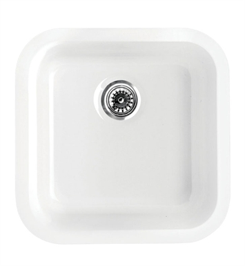 Whitehaus WHE1818SQ Elementhaus Square Drop-in/Undermount Sink with 3 ½ inch Rear Center Drain